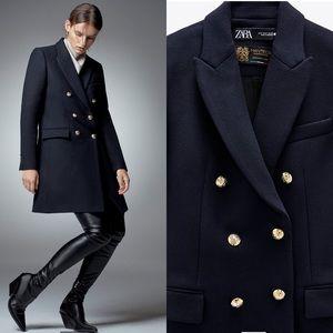 Zara Navy Blue Double Breasted Wool Blend Coat S